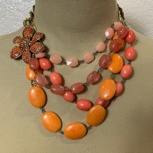 Lee Angel Coral Stone Floral statement necklace